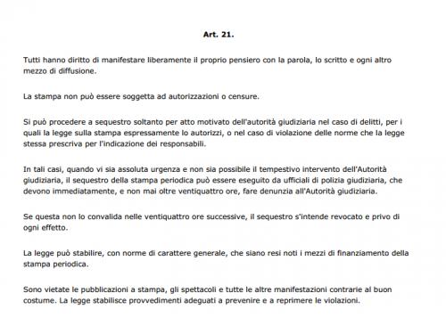 Art. 21 della Costituzione della Repubblica Italiana