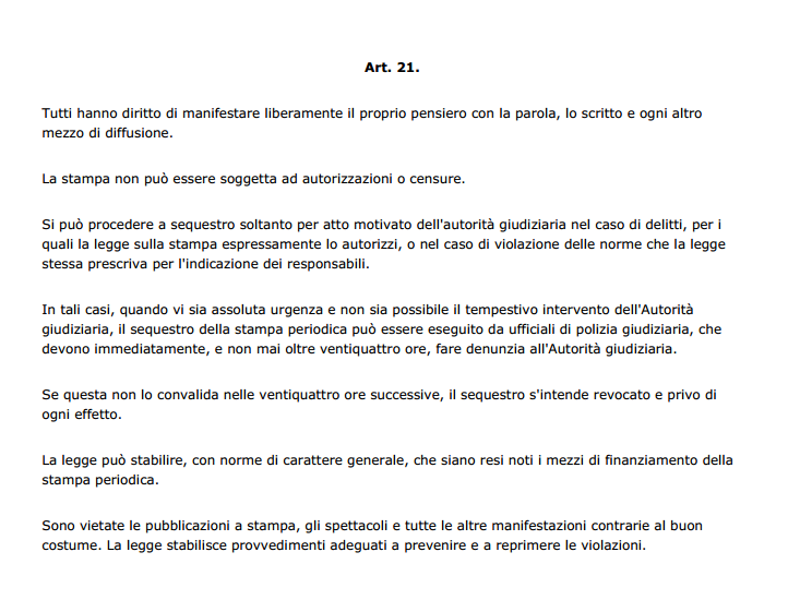 art.21 della Costituzione