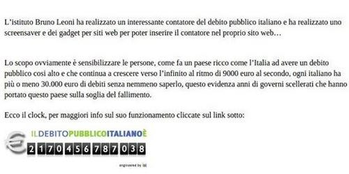 """Il """" Debito Pubblico Italiano """""""